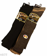 Mens Long Wool Socks, Knee High Fine Wool. 6 Pairs, Assorted Colours Size 6-11
