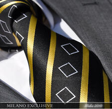 BLACK, GOLD & WHITE SILK TIE - ITALIAN DESIGNER Milano Exclusive