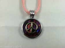 Beautiful Natural Abalone Paua Shell Peace Sign Pendant Necklace On Pink Cord
