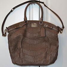 COACH MADISON Gathered Leather Sophia Satchel Handbag TAUPE Tote 18643  EUC