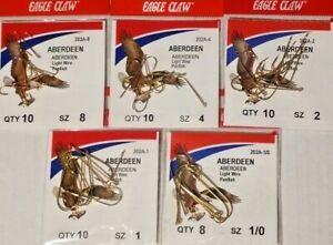 Eagle Claw Aberdeen Hooks 202A Sizes 1-2-4-8-1/0 Choose FREE S/H