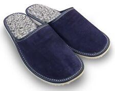 Herren LEDER Hausschuhe Pantoffeln Blau, gefüttert mit Lammwolle  Gr. 40 - 48