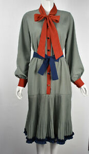 Women's Girls Zig Zag Striped Pleated Hem Tie Neck Long Sleeve Smock Shirt Dress