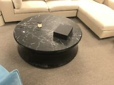 Round Coffee Table Marble Top w/Black Lacquer Wooden Base Living Room