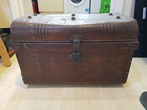 Large Vintage Industrial Metal Box Storage Chest Trunk Steampunk Table Deed