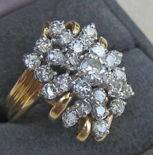 HUGE 3.0 CARAT DIAMOND CLUSTER 14K YELLOW GOLD FINISH SILVER COCKTAIL RING