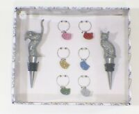 Glitter Cat Wine Set of 8 2 Bottle Stoppers and 6 Charms By Wild Eye Designs NIB