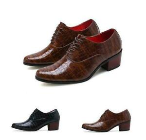 New Men's Leather Nightclub Pointy Toe Pumps Cuban Heel Casual Dress Party Shoes