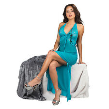 Women's Lingerie Sheer Lace Halter Long Nightgown G-String Sleepwear Slip Robe