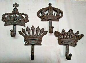Royalty Crown King Queen Single Hook Kitchen Bath Towel Hat Rustic Cast Iron