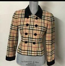 Vintage Kasper Blazer Coat Jacket Burberry Print Velvet Checks Career Work 10