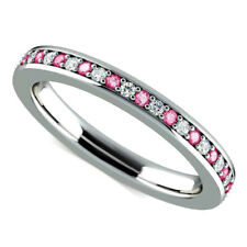 0.65 Ct Round Engagement Pink Sapphire Eternity Ring 14K Solid White Gold Size 5