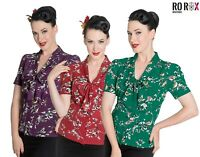New Hell Bunny Birdy Blouse Top Shirt 40s 50s Pin Up Landgirl WW2 Vintage Retro