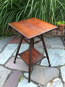 Antique Parlor Ball & Turned Side Table/Plant Stand