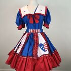 Square Dance Outfit Skirt Blouse Belt Red White Blue Size M Patriotic USA