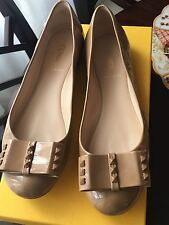 Women's Fendi Flats with Studded Bow, Light Brown, size 9 (US)