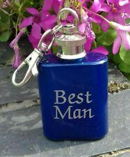 Engraved 1oz Key Ring Keyring Hip Flask - Best Man Wedding Gift