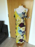 Ladies NEW LOOK Dress Size 12 Yellow Floral Cold Shoulder Party Evening Wedding
