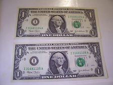 CONSECUTIVE US ONE DOLLAR FEDERAL RESERVE NOTES 2 BILLS 2003 I 31681124-25 A