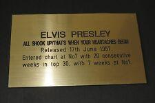 ELVIS PRESLEY-ALL SHOOK UP/qu' est quand --- Or Métallique gravé Plaque