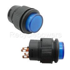 2x On/Off 3A 250V SPST AC 16mm Push Button Switch 503AD Self-locking Blue Light