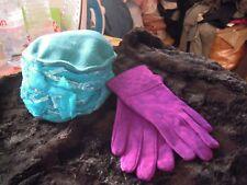 Magnifique gants en cuir aspect daim violet