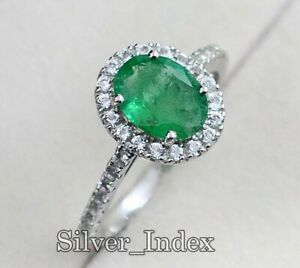9X7 MM Natural Zambian Emerald Gemstone 925 Sterling Silver Wedding Ring For Her
