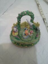 Easter Trellis Bunnies Porcelain Moving Musical from Hess's with Hess's Box