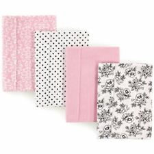 Hudson Baby Girl Flannel Burp Cloth, 4-Pack, Black and Pink Floral