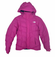 North Face Women's Puffer Goose Down Ski Jacket Size Small Petite Hooded Pink
