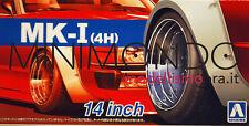"MK-I 4H 14"" TYRE WHEEL SET CERCHI E GOMME 1/24 AOSHIMA 053874 MKI"