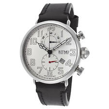 New Ritmo Mundo Men's Turismo Chronograph Black Genuine Leather Silver-Tone Dial