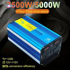 Car Power Inverter 2500w 5000w Pure Sine Wave Converter 12v to 110v Camping USB