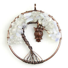 White Opal Opalite Chip Beads Tree of Life Copper Owl Round Pendant for Necklace