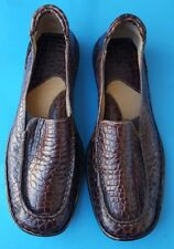 Born womens brown leather croc print loafers handcrafted flats size 8/39