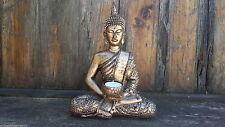 Large Meditating Thai Buddha Statue Tealight Holder Bronze Gold Ornament 27cm