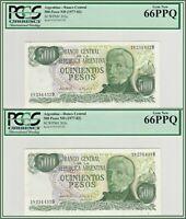 Consecutive 1977-1982 Argentina 500 Pesos PCGS 66 PPQ Gem New Unc Banknotes (2)