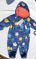 M&S Baby Girl's double zip Navy Floral Snowsuit with hood age 3-6 Months BNWT