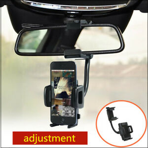 Universal 360° Car Auto Rearview Mirror Mount Holder Stand Cradle For Phone GPS