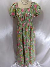 1970's True Vintage DRESS~L Green Floral Tulips~Cotton Peasant Maxi Gown 18-34W