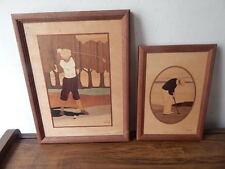 TWO FRAMED NELSON HUDSON RIVER WOOD INLAY GOLFING ARTWORKS INTNTL SALE