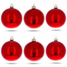 Set of 6 Red Glossy Glass Ball Christmas Ornaments 3.25 Inches
