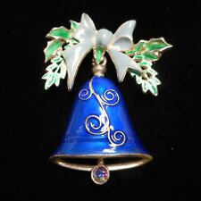 Pin / Brooch With Colored Enamel New listing Wow beautiful Vintage Christmas Bell