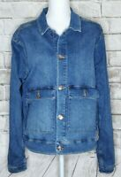 LULAROE Denim Jean Jacket Button Up Long Sleeve Pockets Stretch Blue 3XL EUC