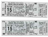 Jose Feliciano Concert Ticket Set of 2 1971 Tampa White