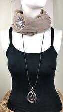 Lagenlook Damen Mode Kette lang Silber Spirale Anhänger Leder Hals Silber  NEU
