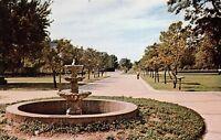 Sherman Texas 1960s Postcard Windsor Fountain & Mall Austin College