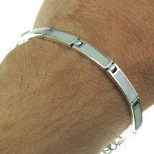 Mother of Pearl Rectangular links Solid Sterling Silver Bracelet, 17cm
