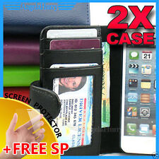 2 x Durable Wallet Credit Leather Flip Case Pouch Cover For Apple iPhone 5 5G S