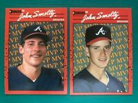 (2) 1990 Donruss JOHN SMOLTZ TOM GLAVINE Braves Baseball Error & Corrected Cards